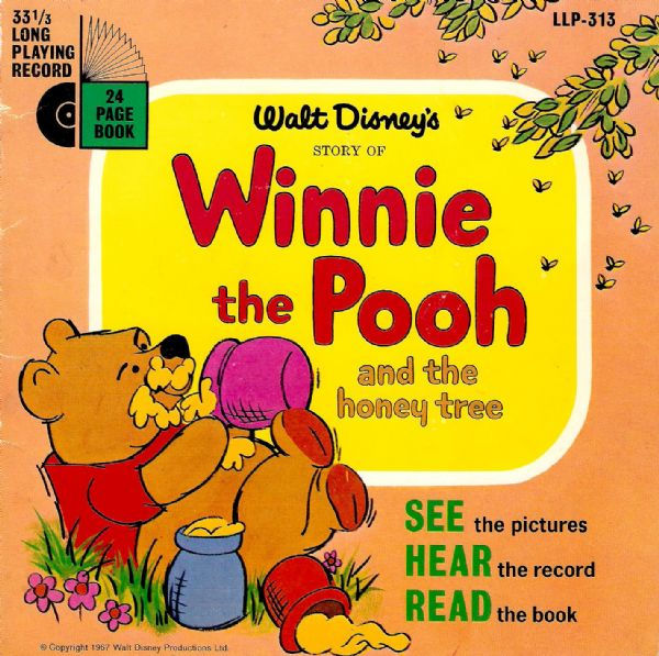 Story Of Winnie The Pooh And The Honey Tree Vinyl Record 7 Inch Disneyland 1967